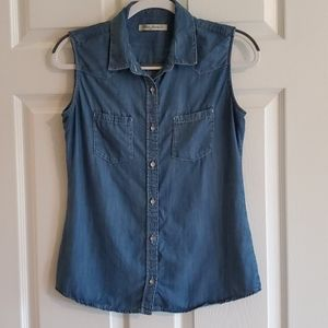 Women's Mavi sleeveless denim shirt